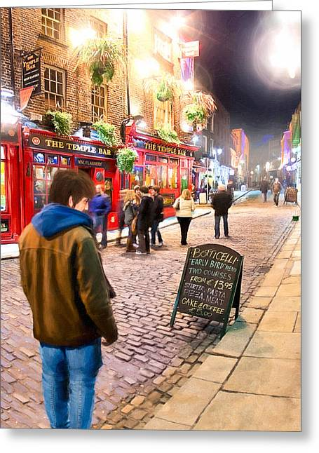 Early Bird Special In Dublin's Temple Bar Greeting Card by Mark E Tisdale