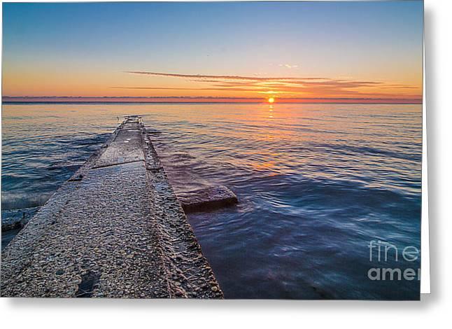 Early Breakwater Sunrise Greeting Card
