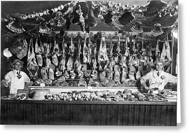 Early Butcher Shop Greeting Card by Underwood Archives