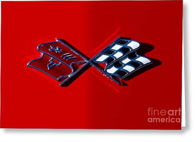 Early C3 Corvette Emblem Red Greeting Card