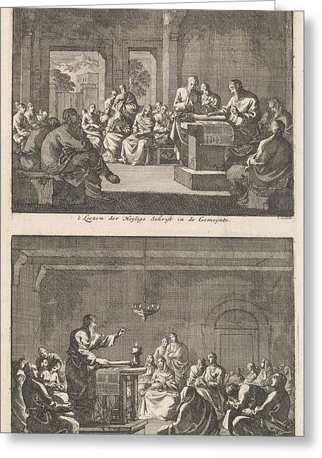Early Christian Community Listening To A Reading Greeting Card by Jan Luyken And Barent Visscher And Jacobus Van Hardenberg