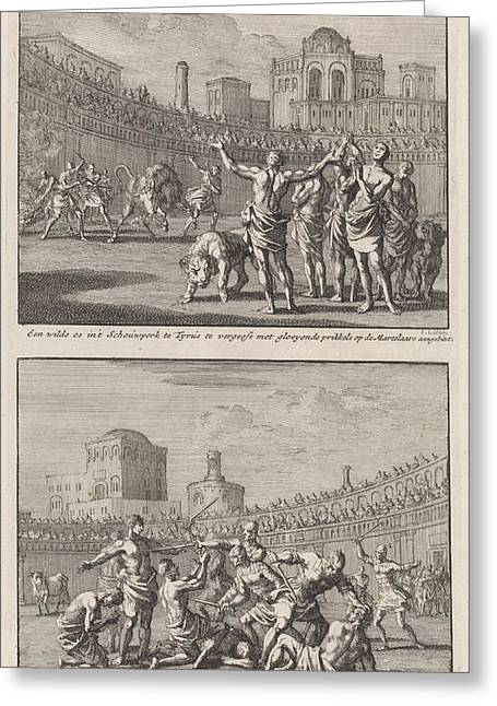 Early Christian Martyrs In A Roman Arena And Early Greeting Card by Jan Luyken And Jacobus Van Hardenberg And Barent Visscher