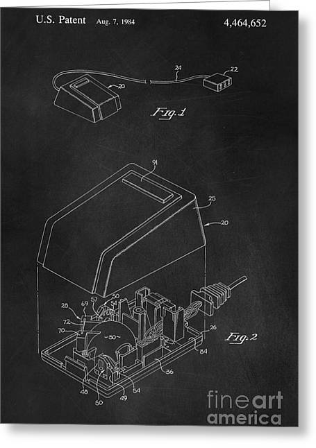 Early Computer Mouse Patent 1984 Greeting Card by Edward Fielding