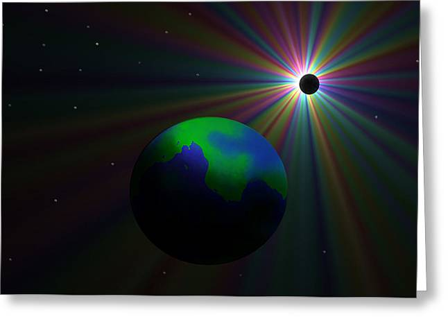 Early Earth Lunar Eclipse Greeting Card by Ricky Haug