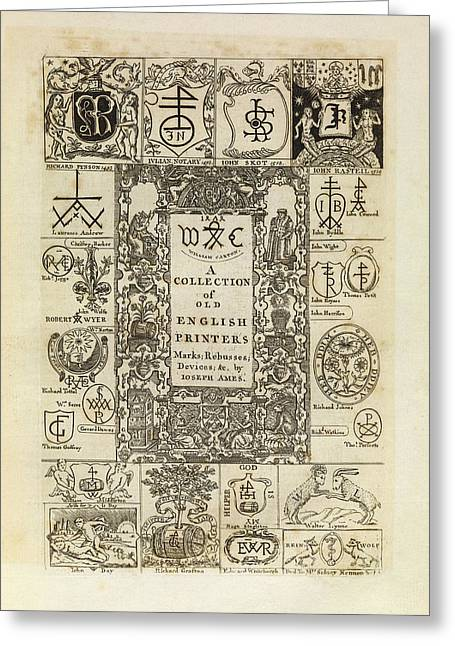 Early English Printers Greeting Card by Middle Temple Library