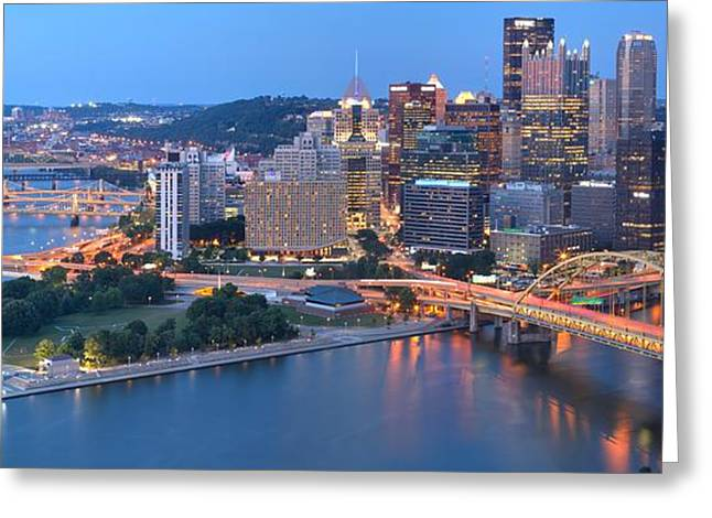 Early Evening In Pittsburgh Greeting Card by Adam Jewell