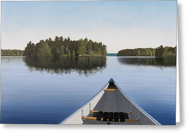 Early Evening Paddle Aka Paddle Muskoka Greeting Card