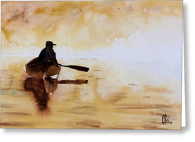 Early Morning Canoe Greeting Card