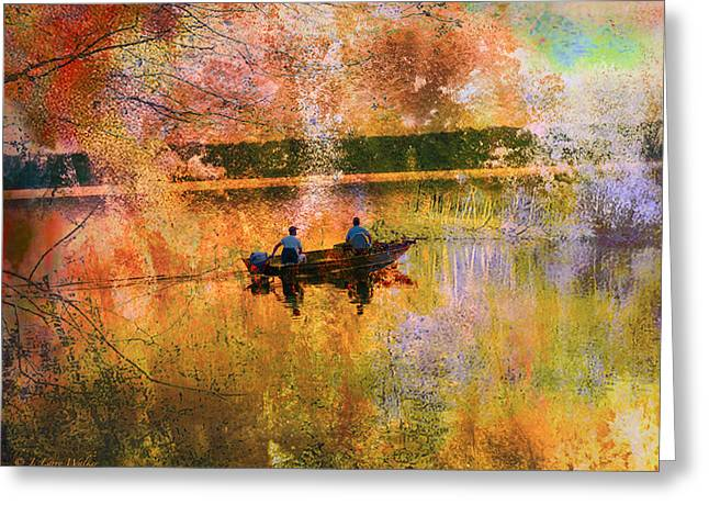 Early Morning Fishermen Looking For That Perfect Spot Greeting Card by J Larry Walker