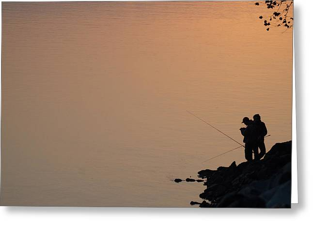 Early Morning Fishing Greeting Card by Gary Wightman