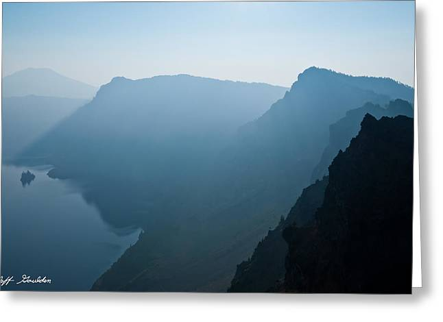 Greeting Card featuring the photograph Early Morning Fog Over Crater Lake by Jeff Goulden