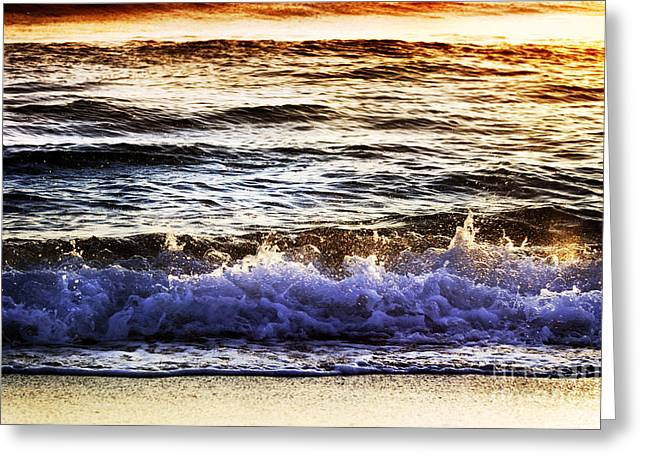 Greeting Card featuring the photograph Early Morning Frothy Waves by Amyn Nasser