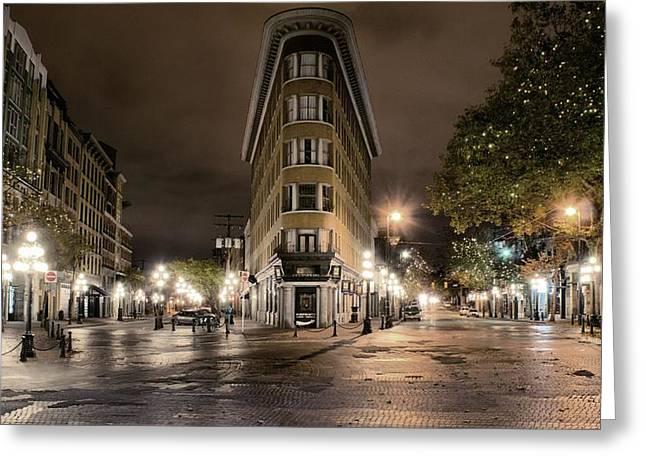 Early Morning Gastown Greeting Card by David Brown