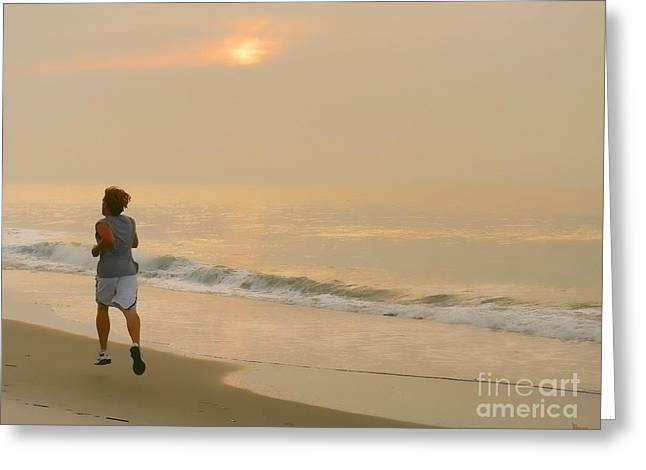 Early Morning Jog Greeting Card by Jeff Breiman