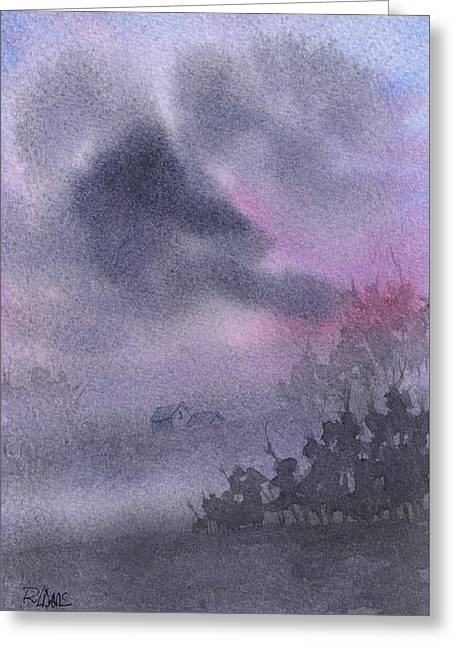 Greeting Card featuring the painting Early Morning Mist by Rebecca Davis