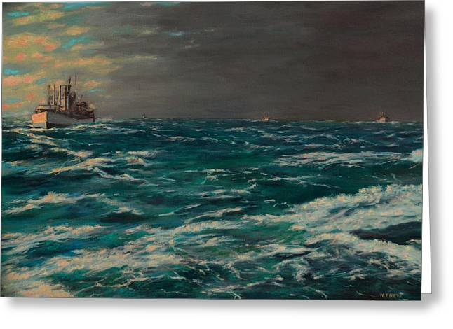 Early Morning North Atlantic Convoy Ww II Greeting Card