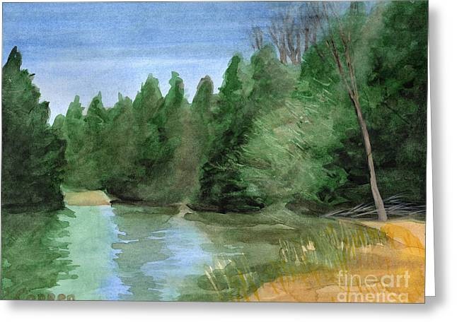Greeting Card featuring the painting Early Morning On The Unadilla by Robert Coppen