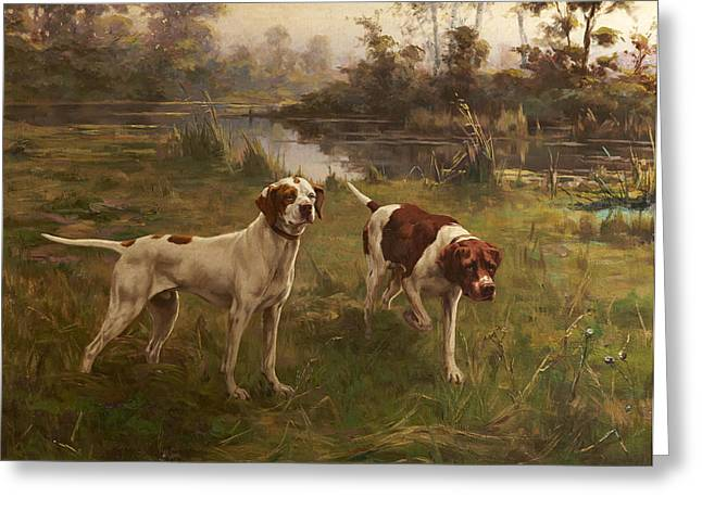 Early Morning  Pointers Greeting Card by Percival Leonard Rosseau