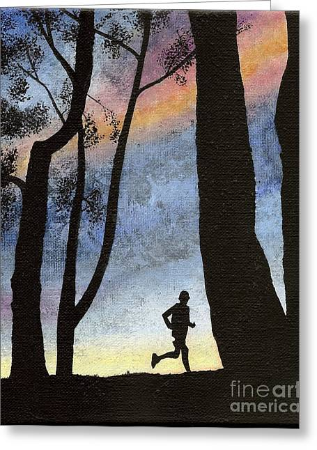Greeting Card featuring the painting Early Morning Run by Mary Scott
