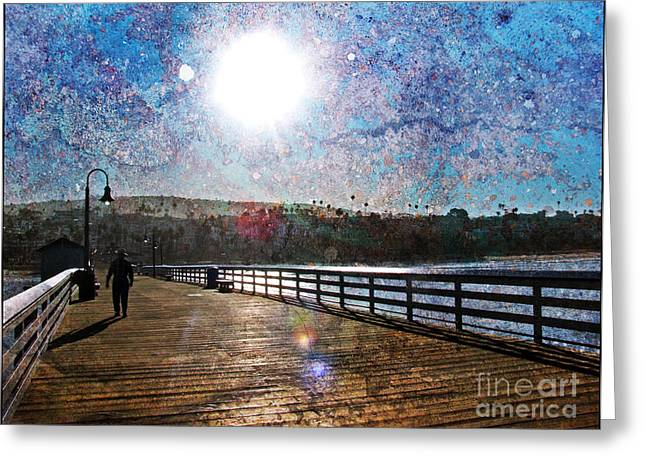 Early Morning Walk On The Pier Greeting Card by Traci Lehman