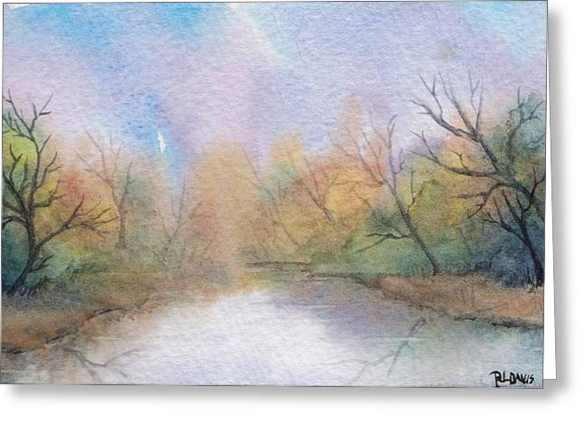 Greeting Card featuring the painting Early Morning Waterway by Rebecca Davis