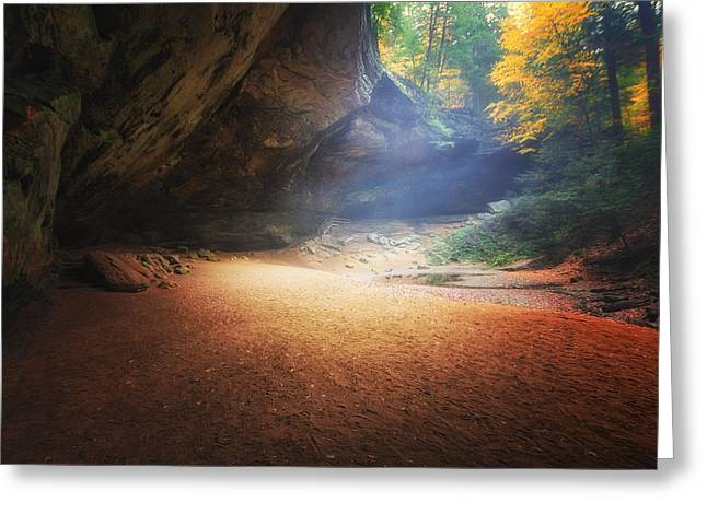 Early Pre-dawn Mist At Ash Cave Greeting Card