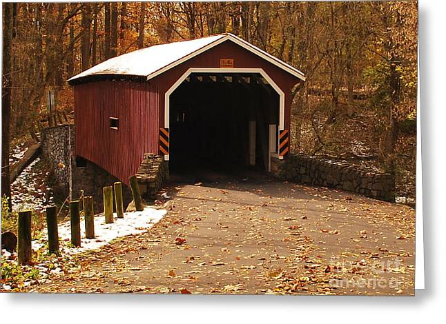 Greeting Card featuring the photograph Early Snowfall On Wooden Covered Bridge by Bob Sample