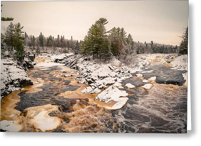 Greeting Card featuring the photograph Early Snowfall On The Saint Louis River by Mark David Zahn Photography