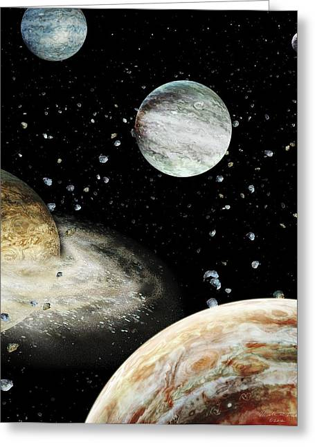 Early Solar System Planets Greeting Card by Nicolle R. Fuller