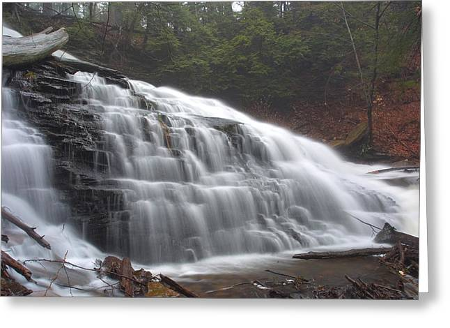 Early Spring Mist Over Mohawk Falls Greeting Card