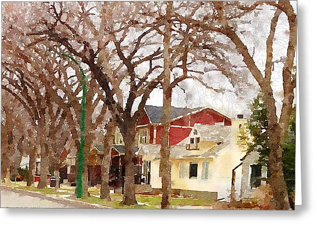 Early Spring Street Greeting Card by Donald S Hall