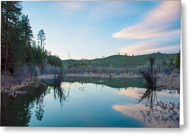 Early Sunset On A Beaver Pond  Greeting Card by Omaste Witkowski