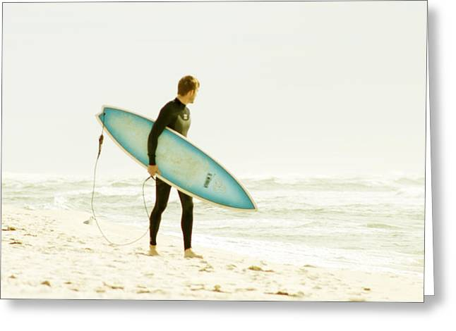 Early Surf Greeting Card by Lindy Brown