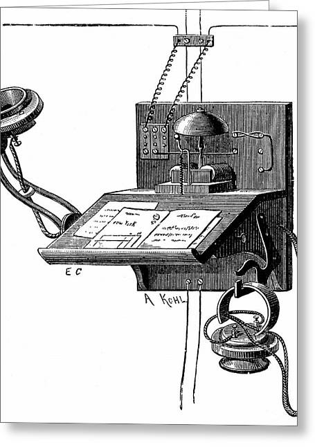 Early Telephone Apparatus Greeting Card by Universal History Archive/uig