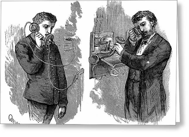 Early Telephone Users Greeting Card by Universal History Archive/uig