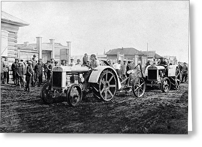 Early Tractors, Russia Greeting Card by Science Photo Library