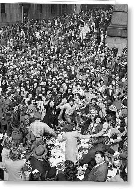 Early Ve-day On Wall Street Greeting Card by Underwood Archives