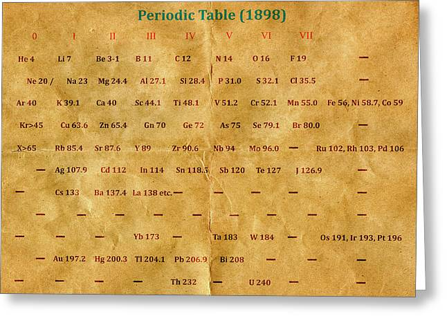 Early Version Of The Periodic Table Greeting Card