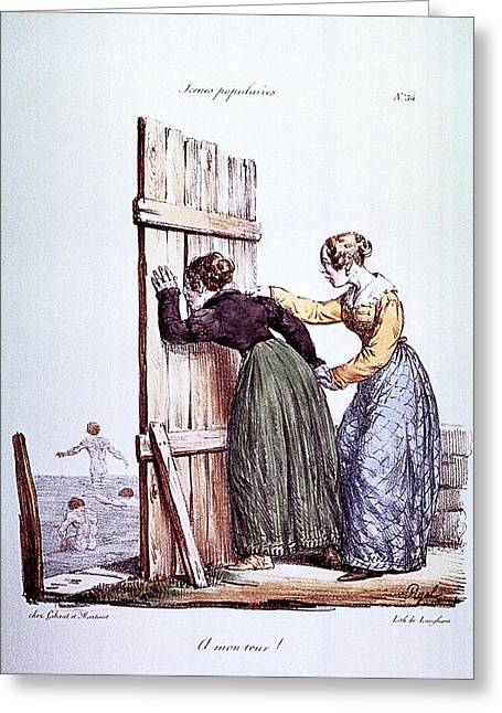 Early Victorian Peeping Women Greeting Card