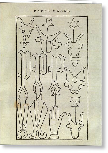 Early Watermarks Greeting Card by Middle Temple Library