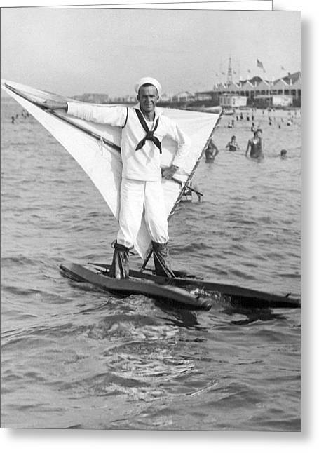 Early Wind Surfer In 1926 Greeting Card