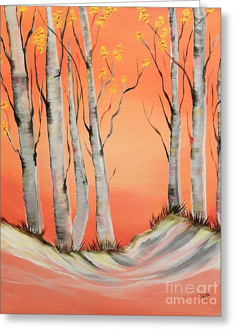 Greeting Card featuring the painting Early Winter Aspen by Janice Rae Pariza