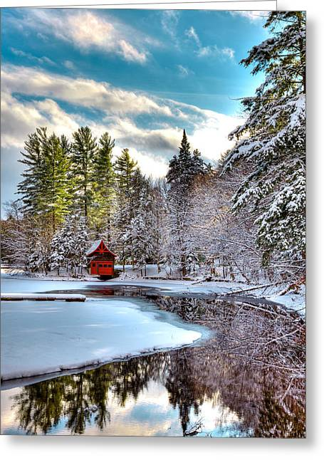 Early Winter At The Red Boathouse Greeting Card by David Patterson
