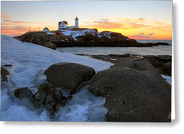 Early Winter Morning At Cape Neddick Lighthouse Greeting Card by Brett Pelletier