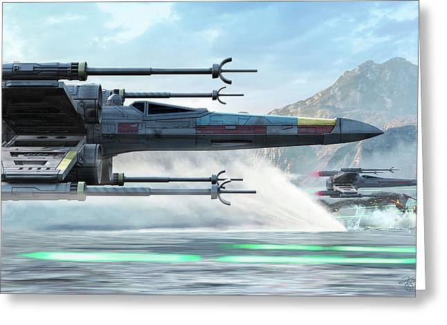 Early X-wing Model Cruising Over A Lake Greeting Card by Kurt Miller