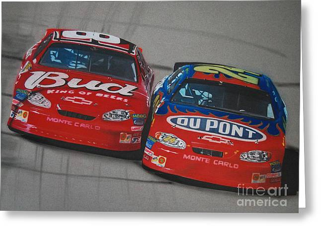 Earnhardt Junior And Jeff Gordon Trade Paint Greeting Card by Paul Kuras
