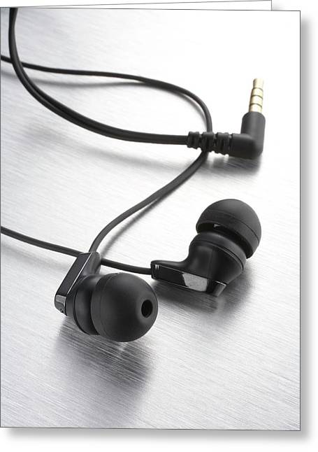 Earphones Using Neodymium Magnets Greeting Card by Science Photo Library