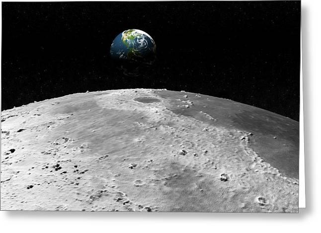 Earth And Moon Greeting Card by Juan Gaertner