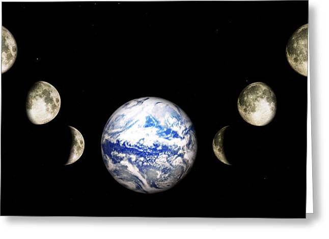Earth And Phases Of The Moon Greeting Card
