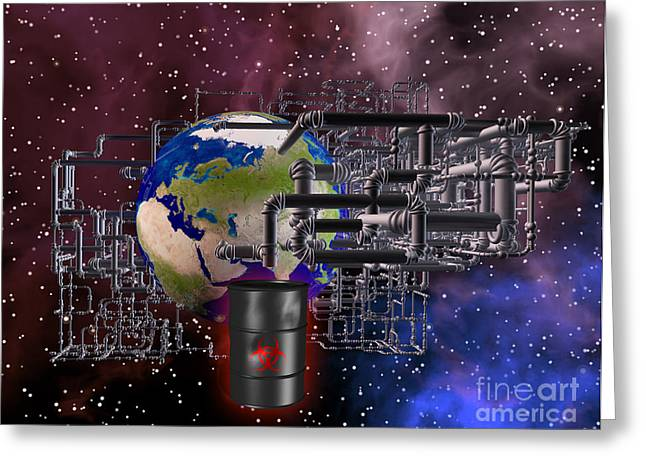 Earth And Pipes Greeting Card